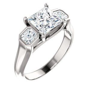 2.21 carat Three stone diamond engagement ring
